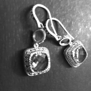Topaz marcasite sterling silver earrings Thai